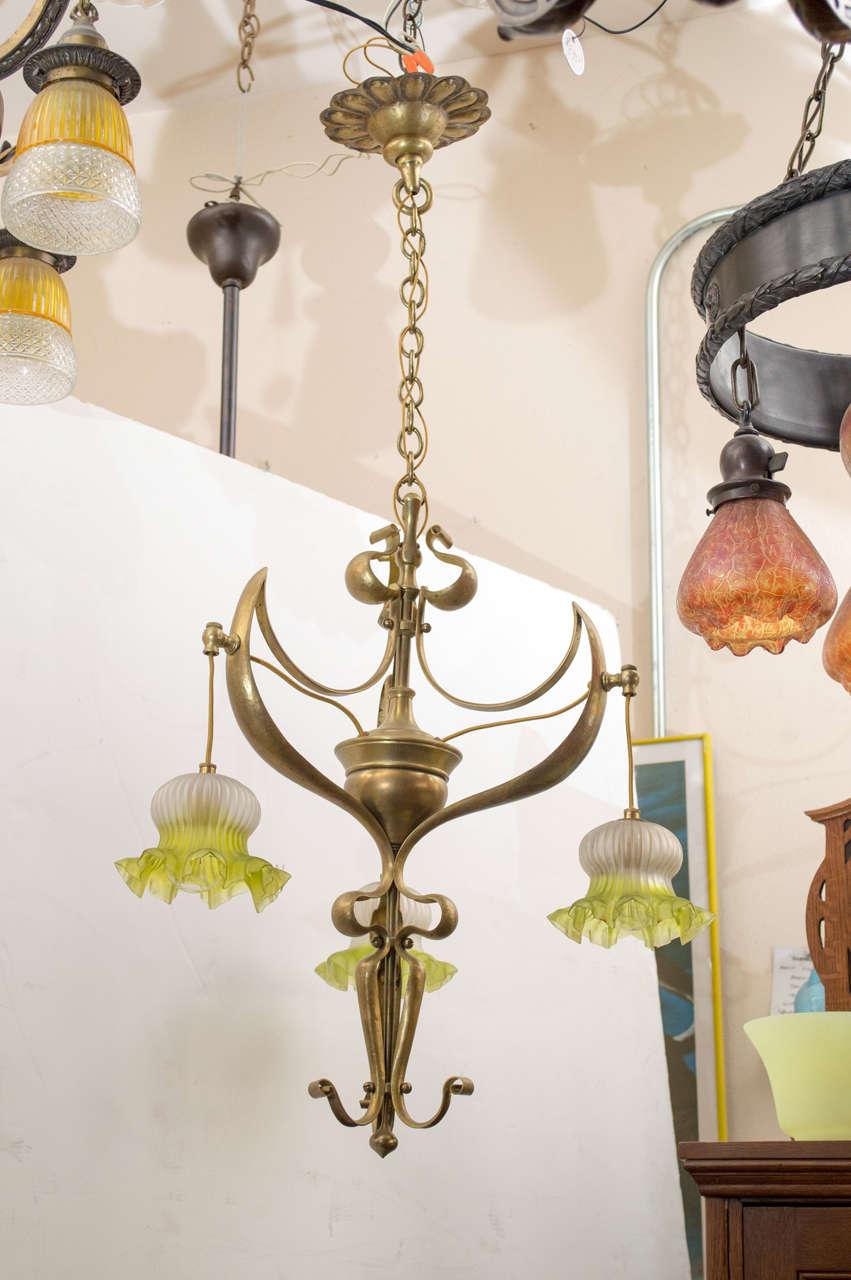 Austrian art nouveau three arm chandelier at 1stdibs for Chandelier art nouveau