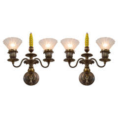 Pair of Late Victorian Three-Arm Sconces