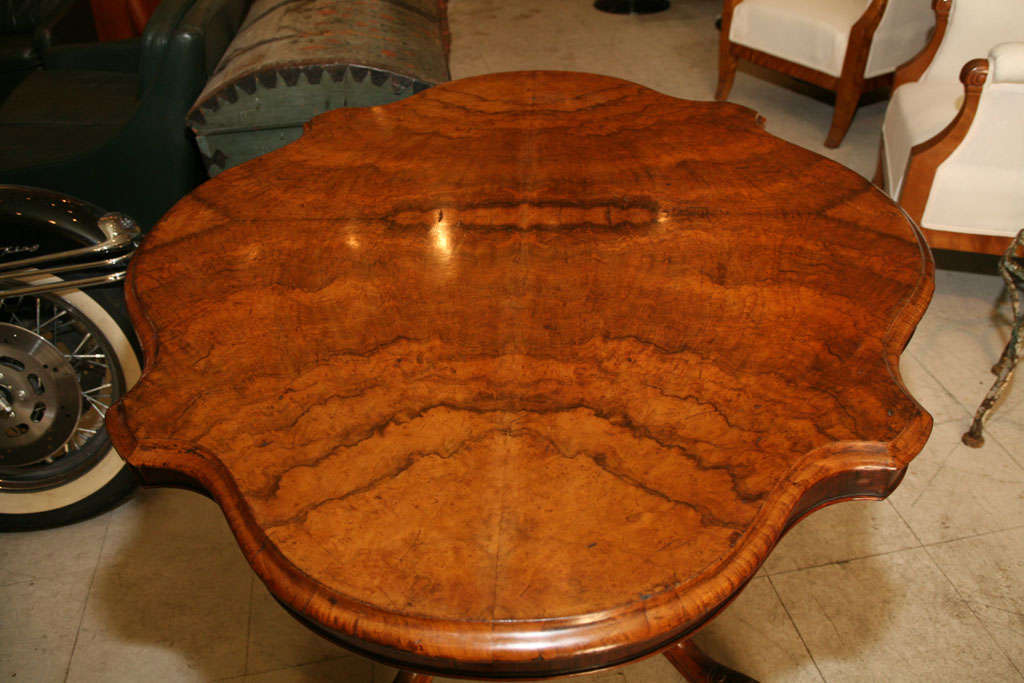 19th Century English Walnut Center Table For Sale