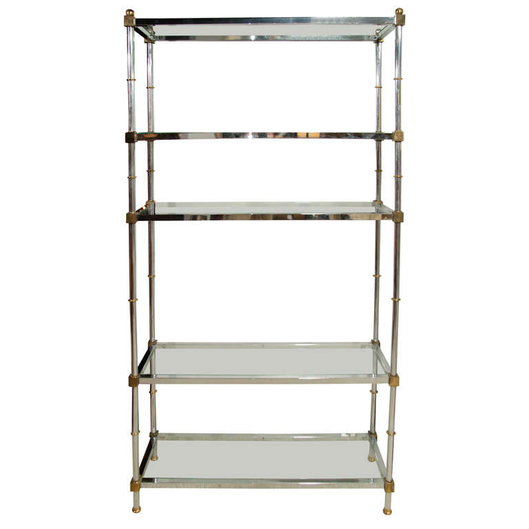 Mid century brass and chrome etagere at 1stdibs - Etagere 6 cases ...