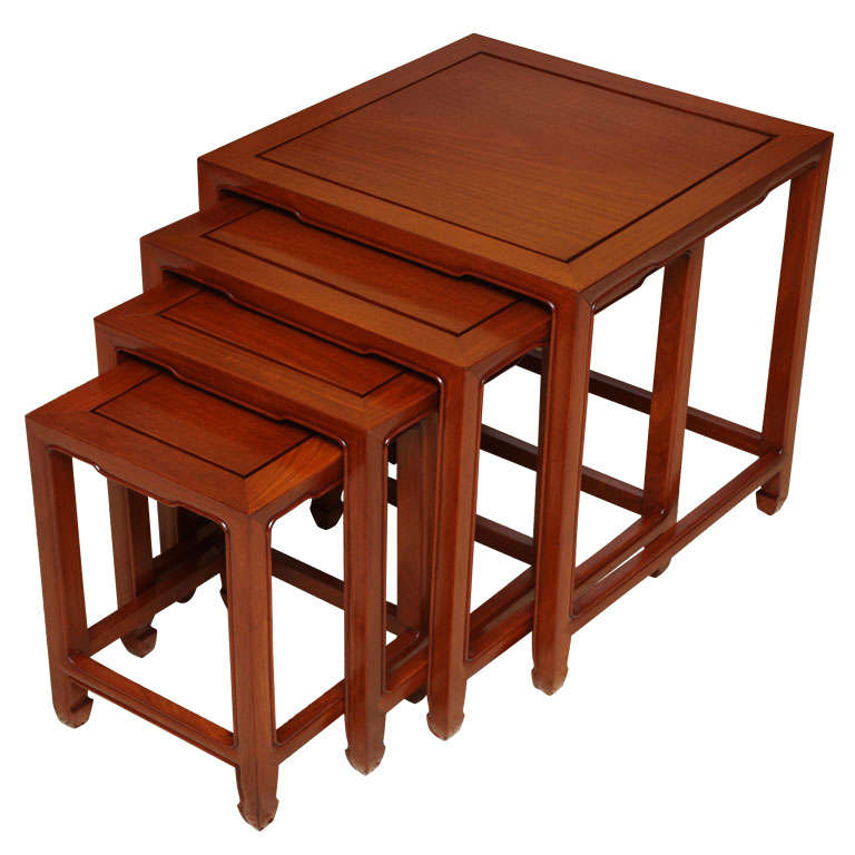 Exquisite Baker Far East Style Nesting Tables For Sale At
