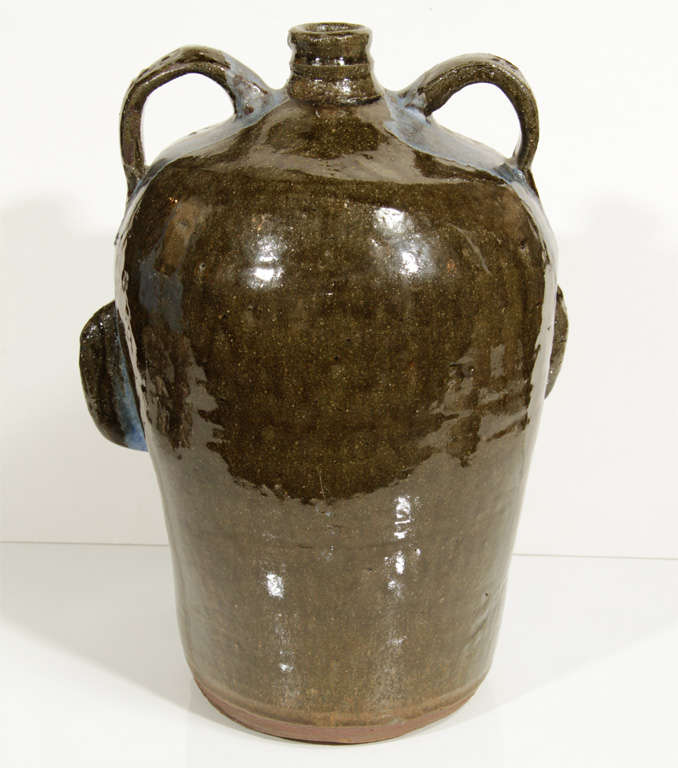 Clay Monumental Folk Art Jug by Chester Hewell For Sale