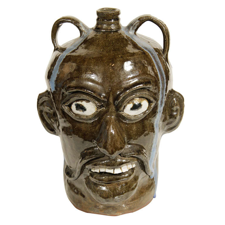 Monumental Folk Art Jug by Chester Hewell For Sale