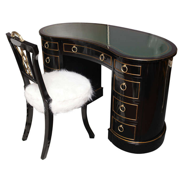 Kidney Shaped Tooled Leather Top Sligh Lowry Desk And Chair For