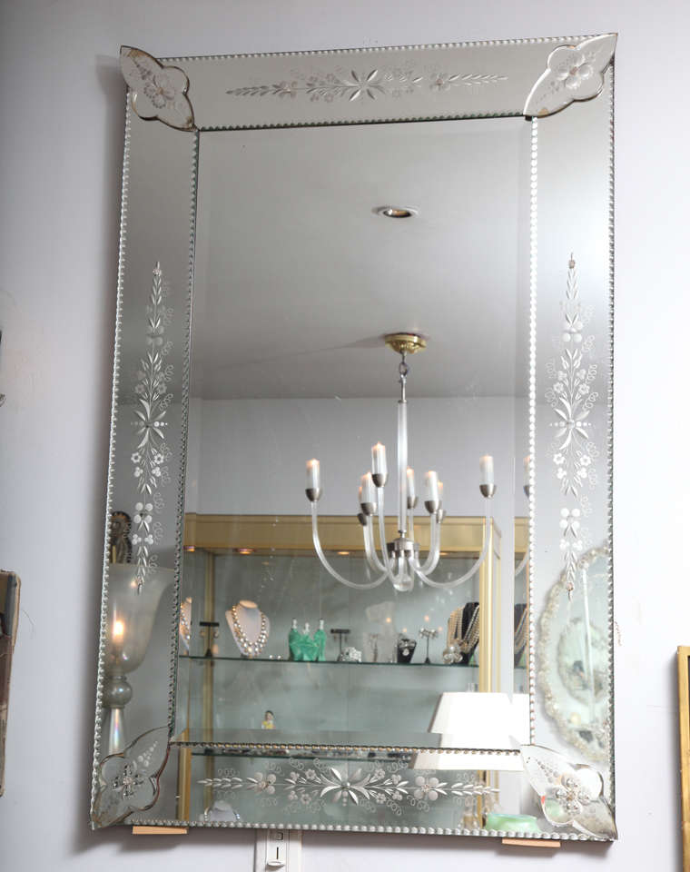 French Bevelled And Etched Mirror At 1stdibs
