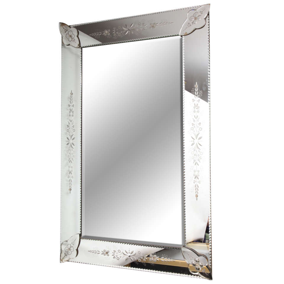 French Bevelled And Etched Mirror For