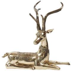 Large Heavy Brass 1970's Deer by Sarreid