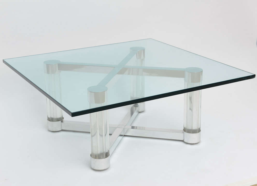 Chic Lucite And Metal 1960 S X Base Coffee Table At 1stdibs