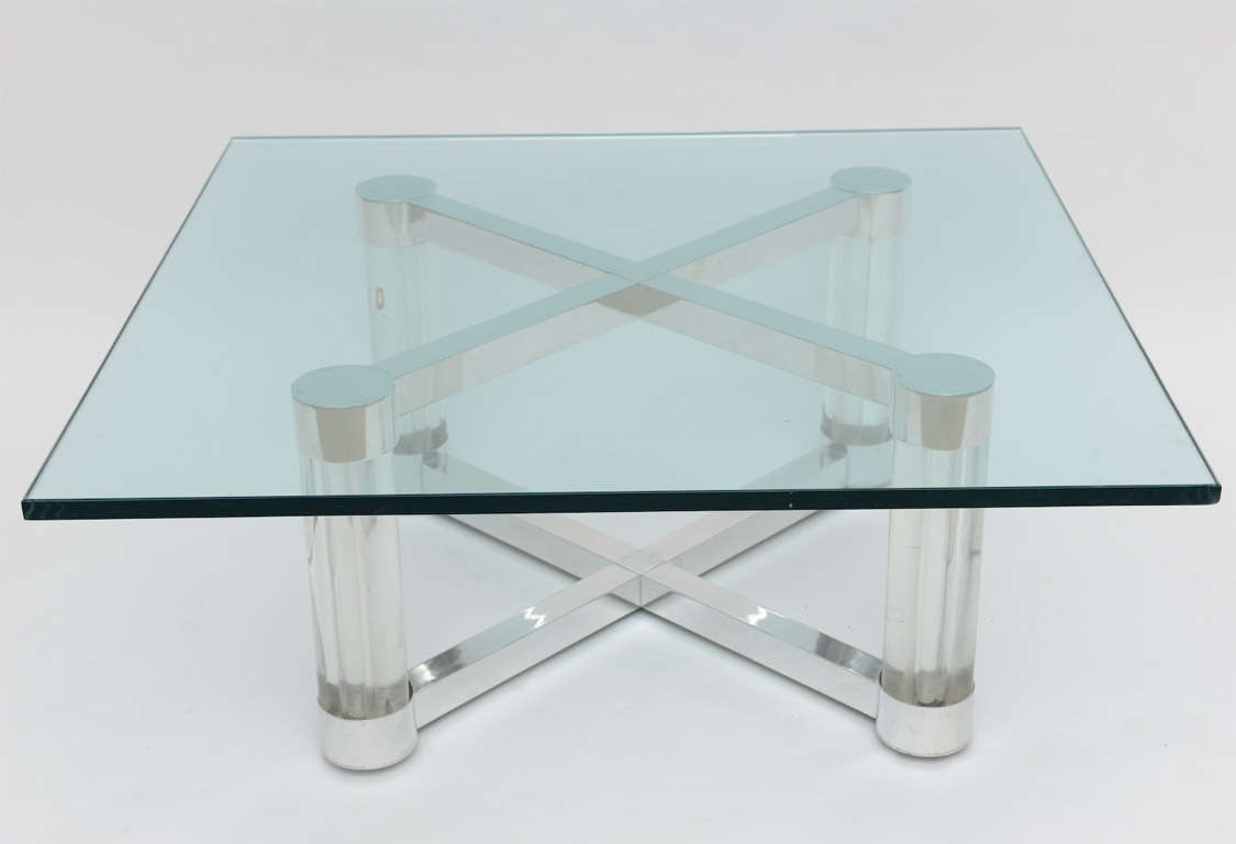 Modern Lucite And Metal 1960s X Base Coffee Table For Sale At 1stdibs