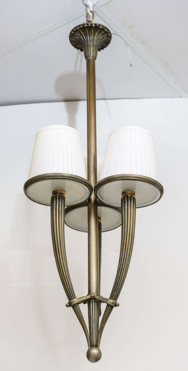 Elegant 3-arm bronze chandelier style of Guglielmo Ulrich, glass diffusers on three 3-light.