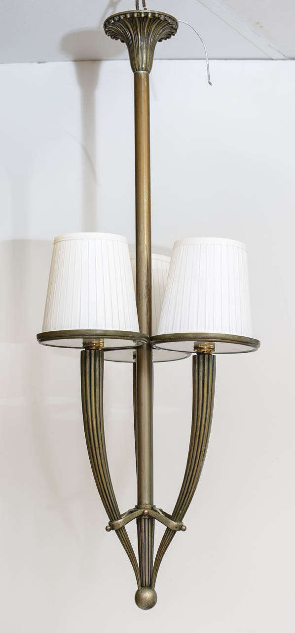 Italian Bronze and Glass Art Deco Chandelier For Sale