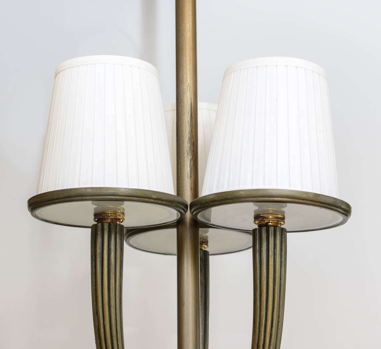 Mid-20th Century Bronze and Glass Art Deco Chandelier For Sale