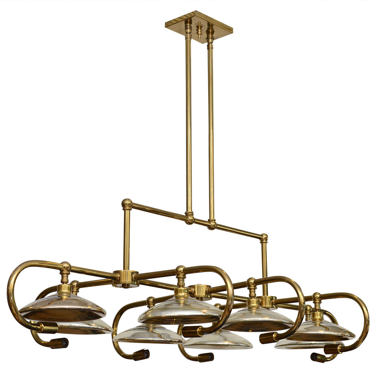Oversized Brass Chandelier With Mercury Glass Diffusers At