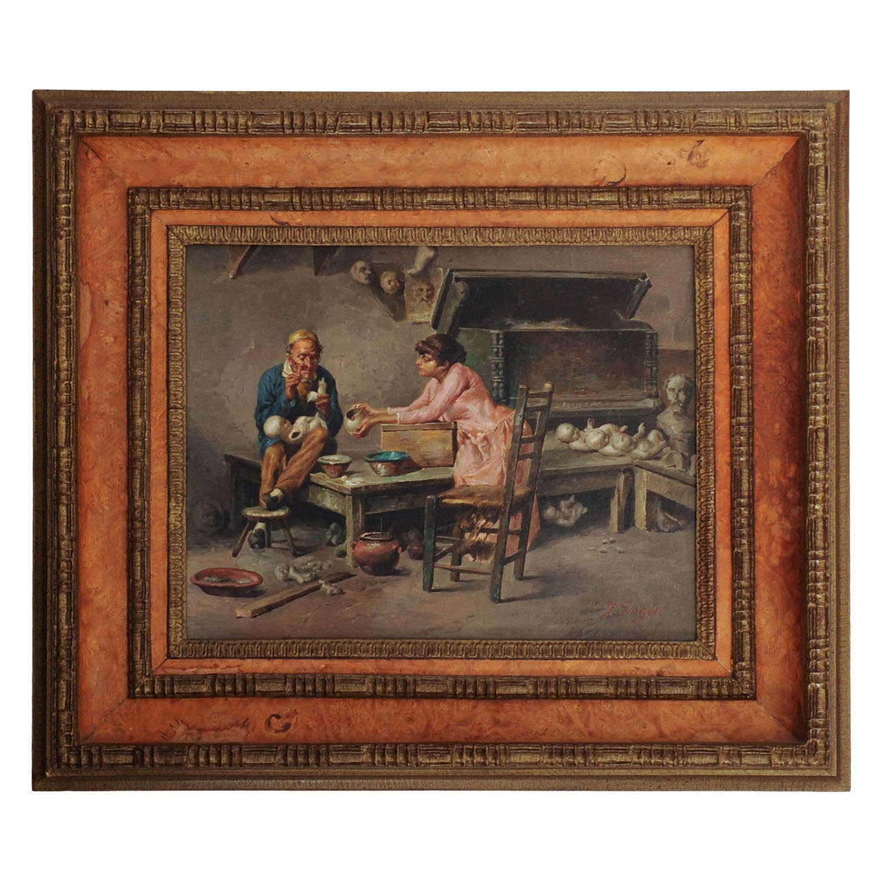 austrian oil painting of a dolls 39 doctor in his studio by julius singer at 1stdibs. Black Bedroom Furniture Sets. Home Design Ideas