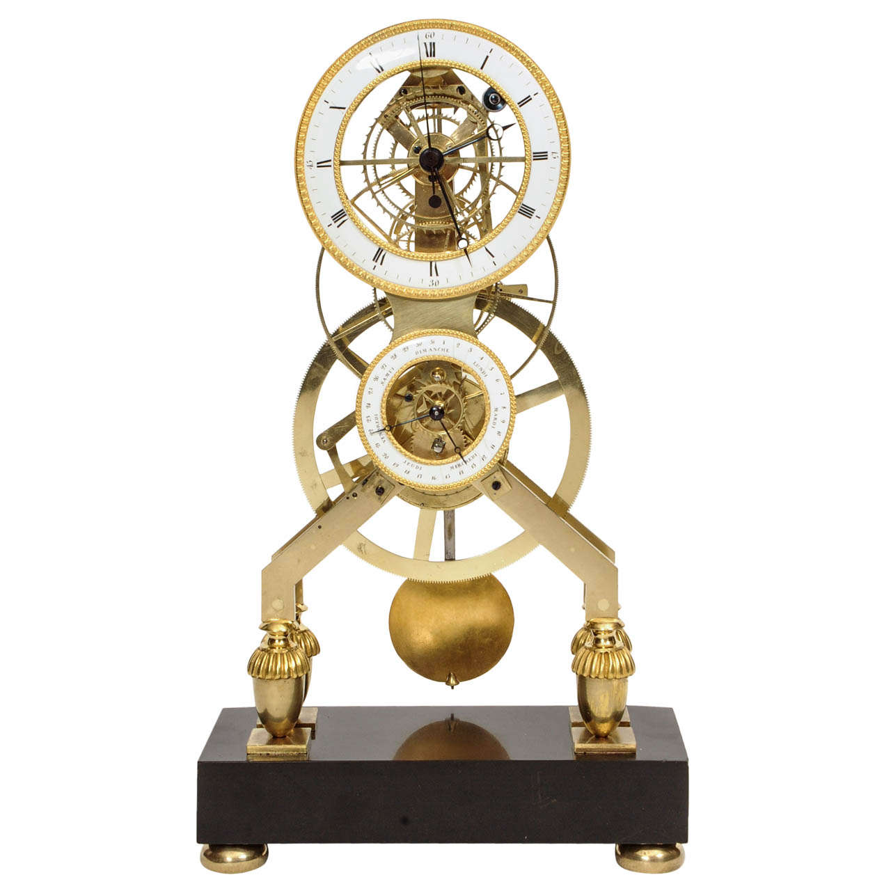 French Directoire Brass And Black Marble Skeleton Mantel Clock Circa 1795 At 1stdibs