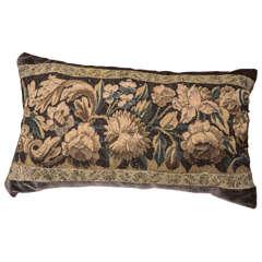 18th Century Large Lumbar Tapestry Pillow