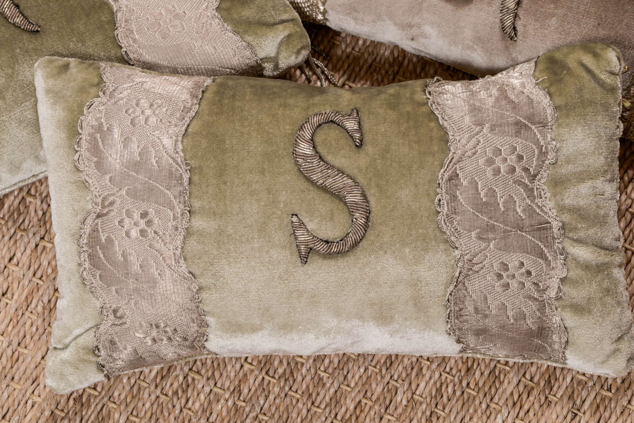 French Antique Metallic Applique Initial Pillows For Sale