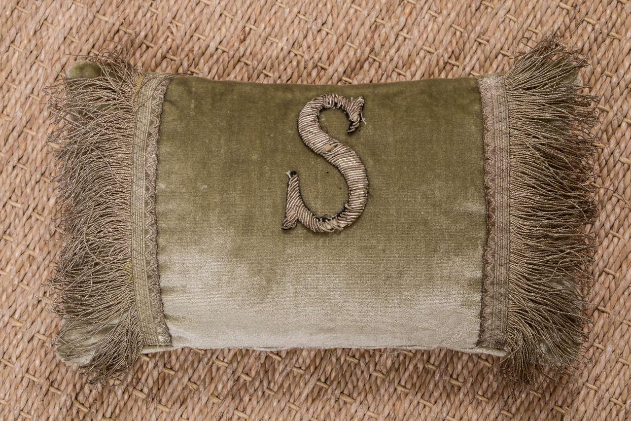 19th Century Antique Metallic Applique Initial Pillows For Sale