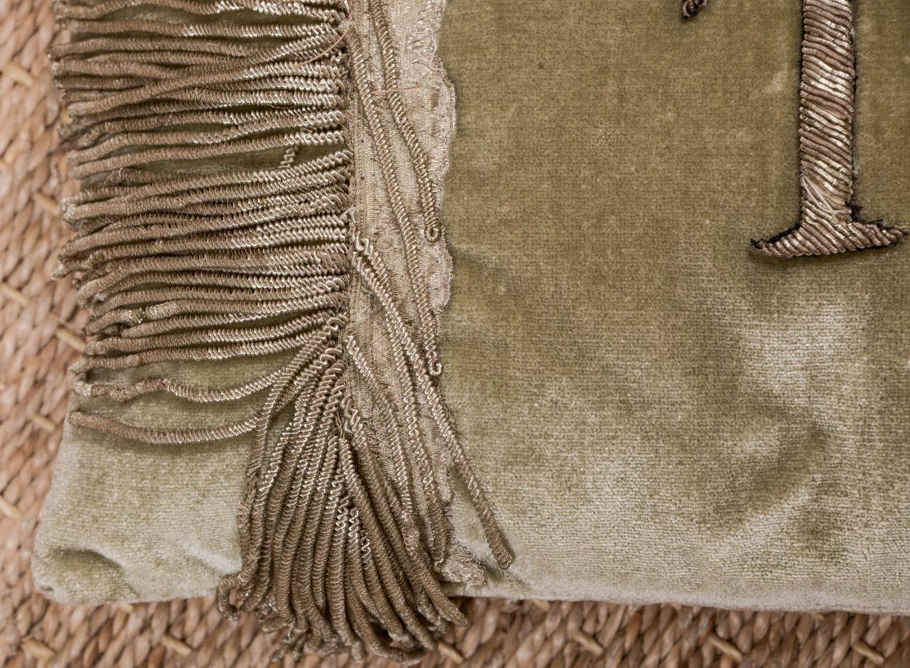 Antique Metallic Applique Initial Pillows For Sale 1
