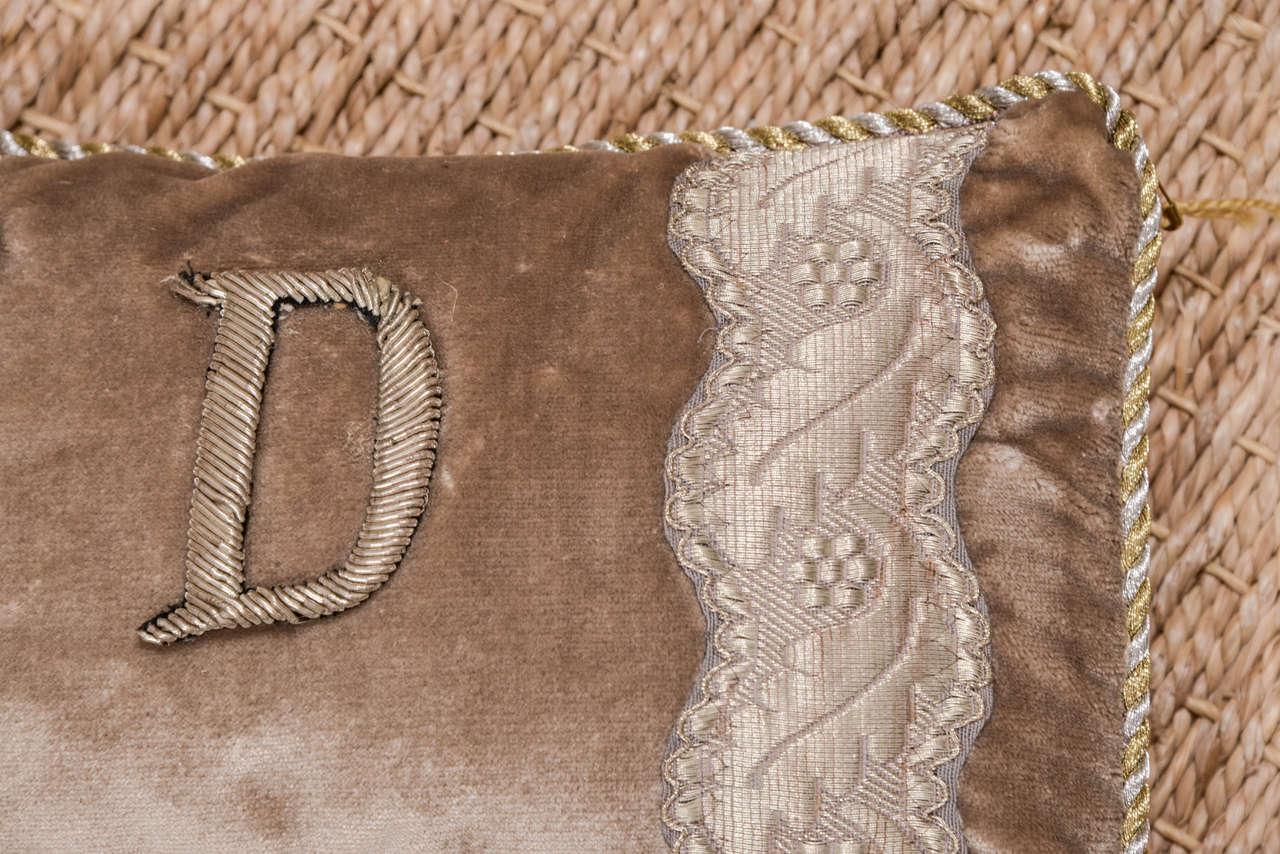 Antique Metallic Applique Initial Pillows For Sale 2
