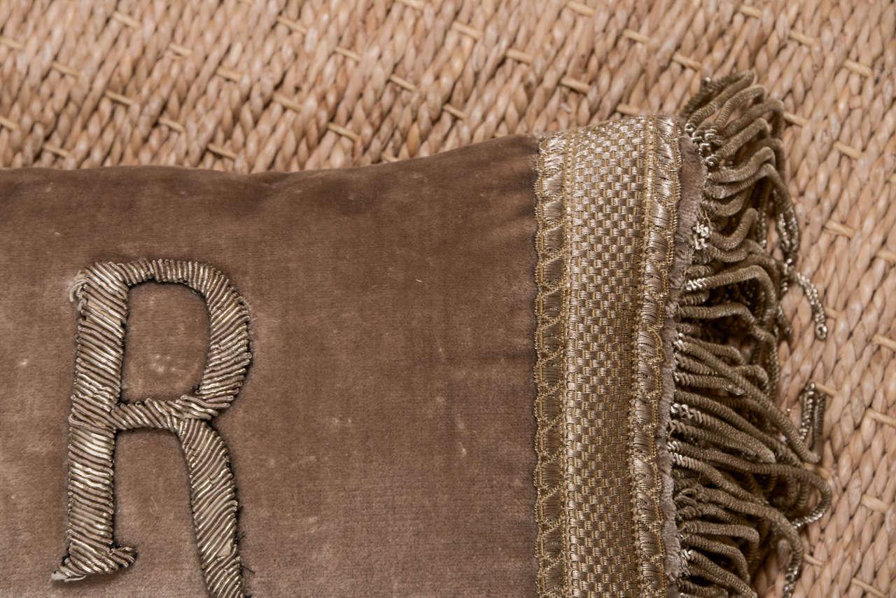 Antique Metallic Applique Initial Pillows For Sale 3