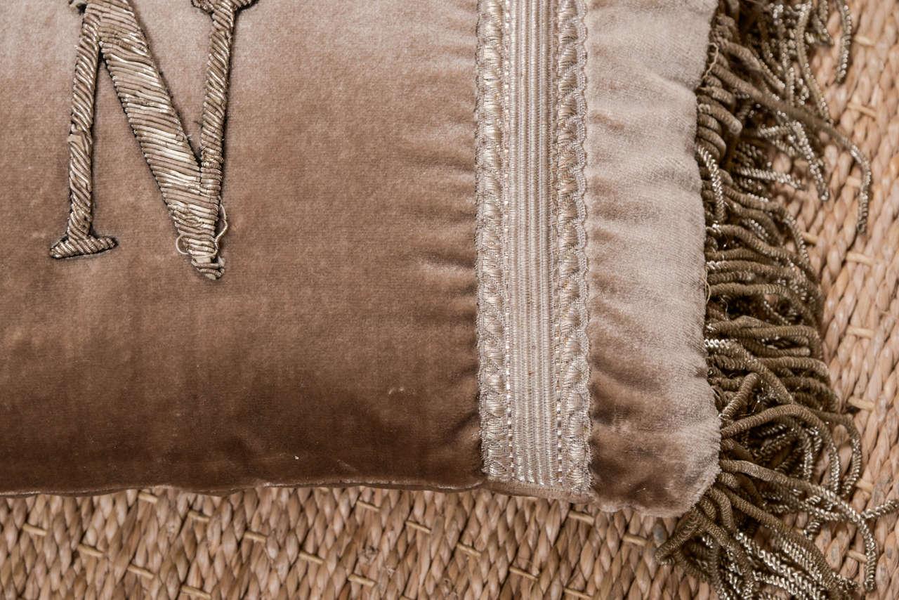 Antique Metallic Applique Initial Pillows For Sale 4