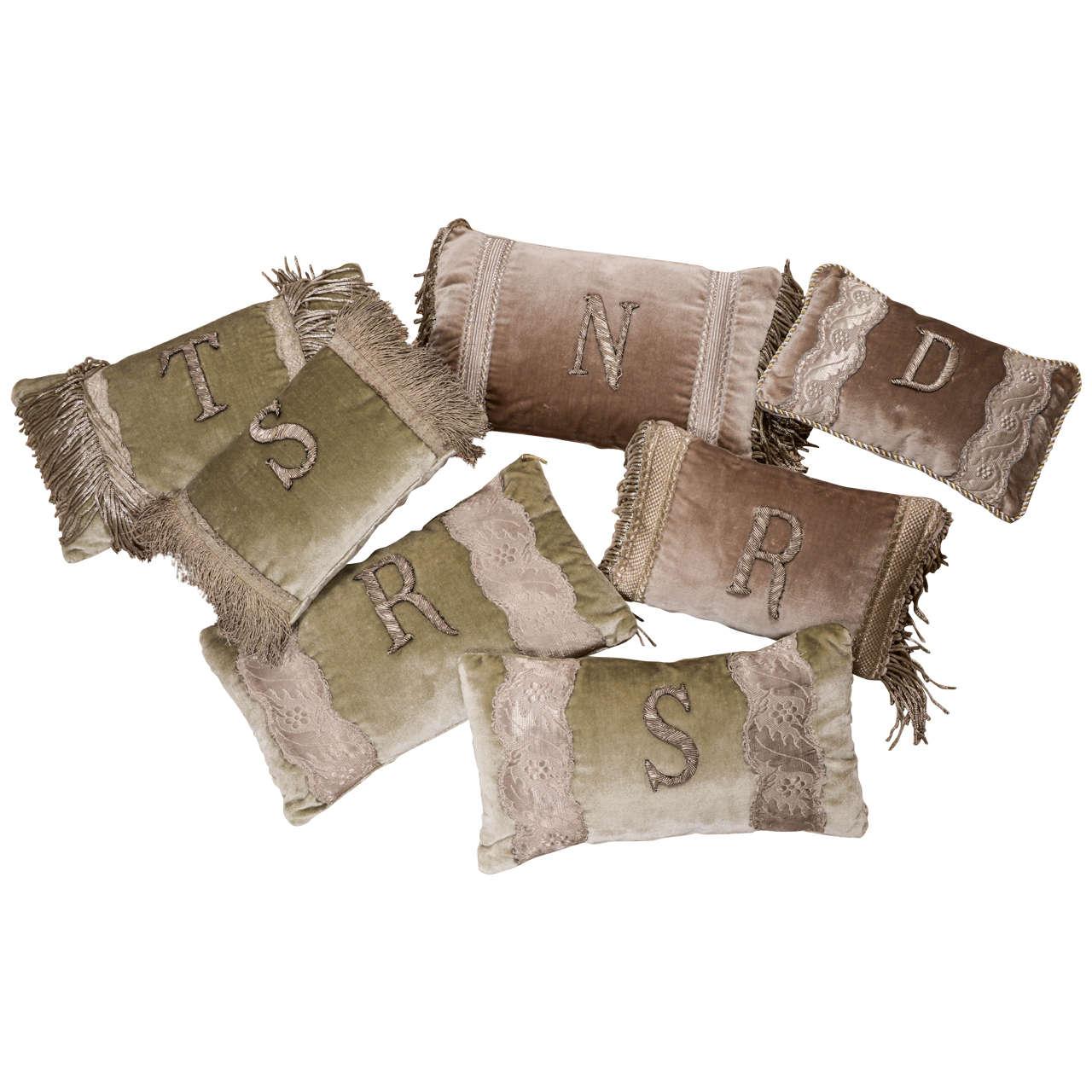 Antique Metallic Applique Initial Pillows For Sale