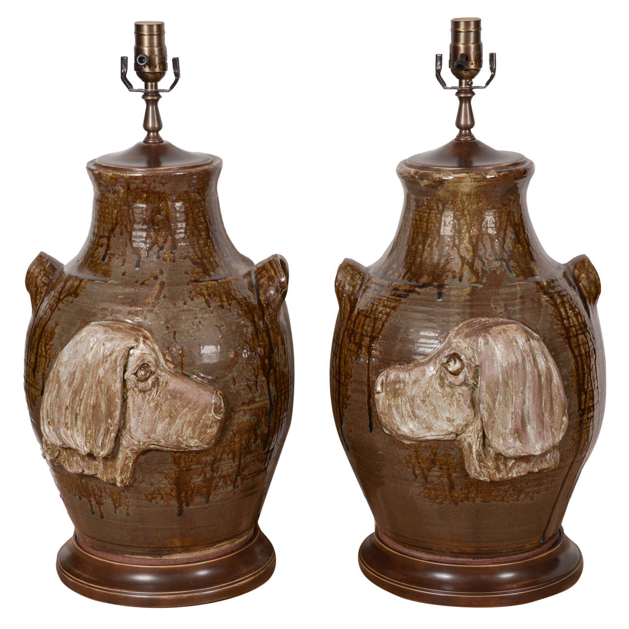 Pair of Pottery Lamps For Sale