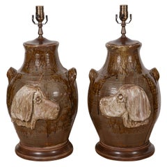 Pair of Hunting Dog Pottery Lamps