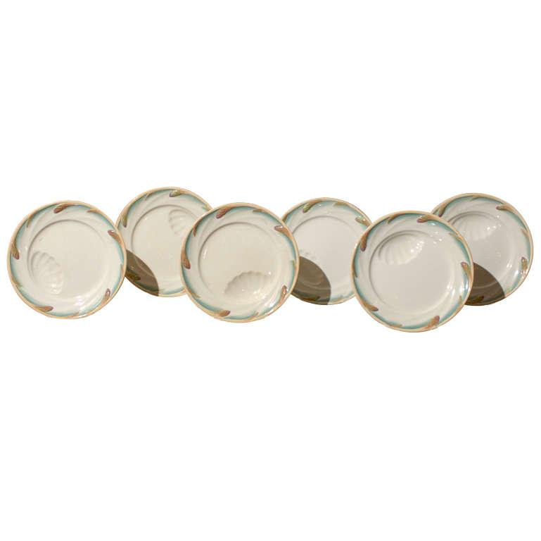 Six French Asparagus Plates, Sarreguemines