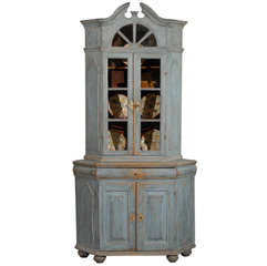 Light Blue Painted, 1760s Swedish Baroque Corner Cabinet with Old Glass Doors
