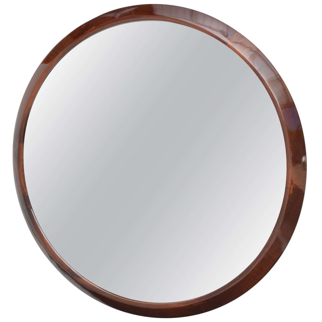 Large Round French Art Deco Mirror with Beveled Mahogany ...