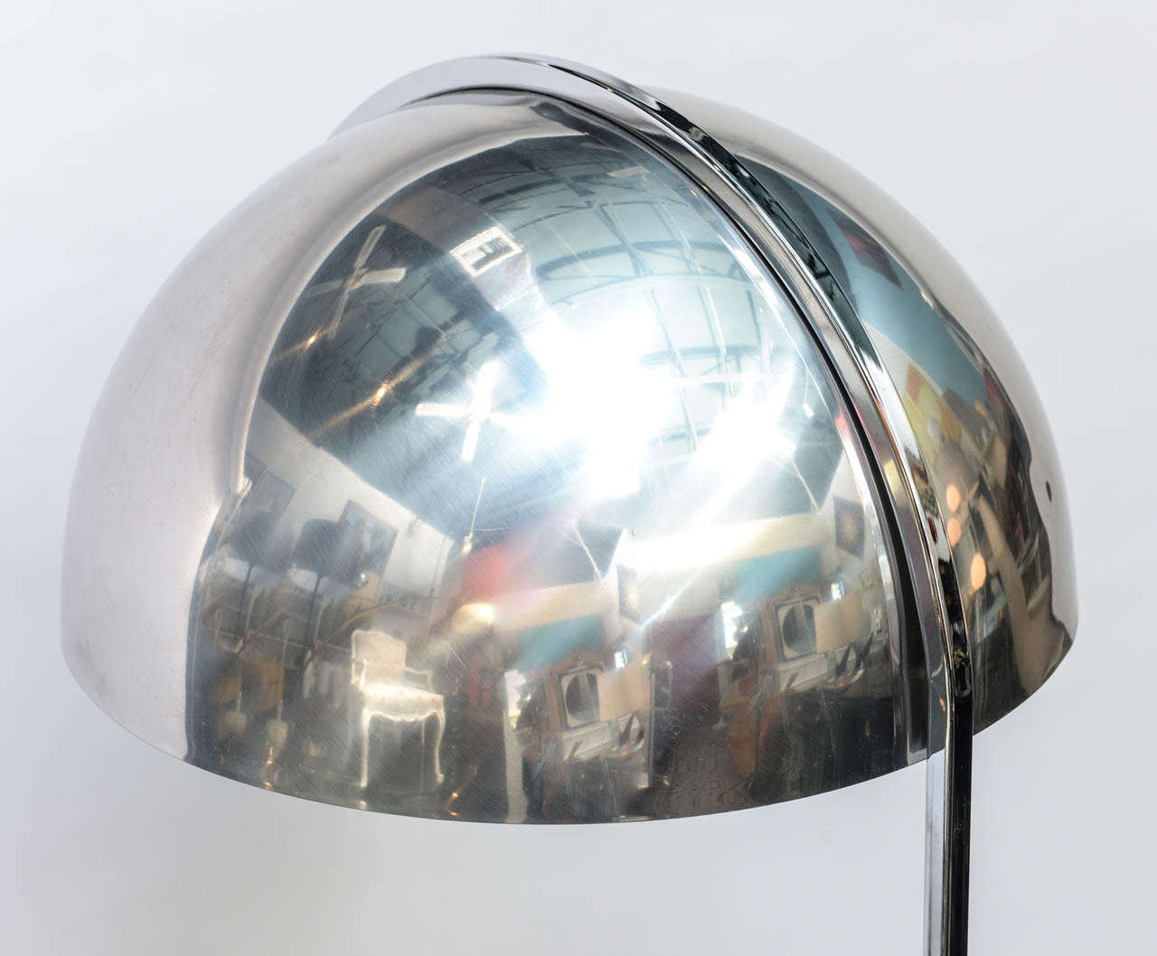 Chrome Dome Floor Lamp With End Table At 1stdibs