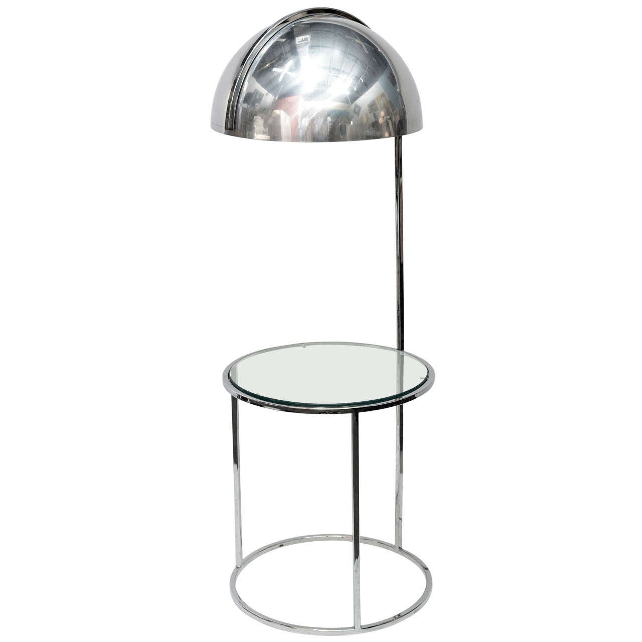 chrome dome floor lamp with end table at 1stdibs. Black Bedroom Furniture Sets. Home Design Ideas