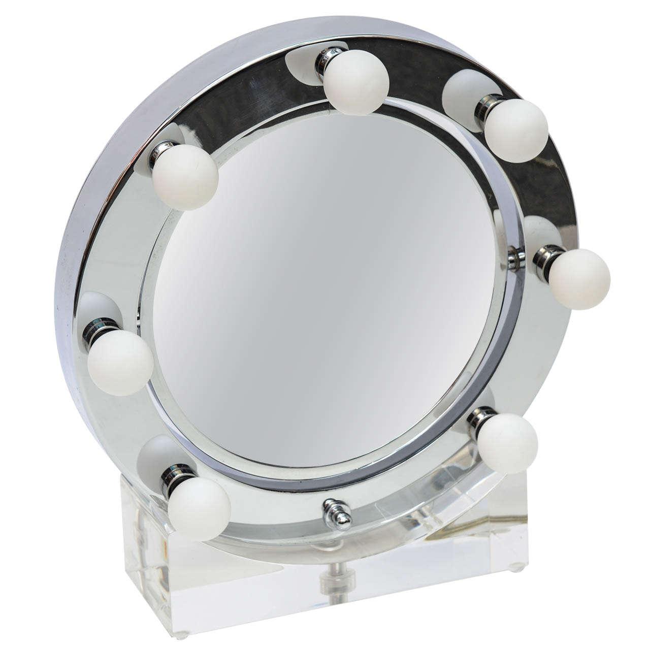 1970s Round Chrome And Lucite Vanity Mirror