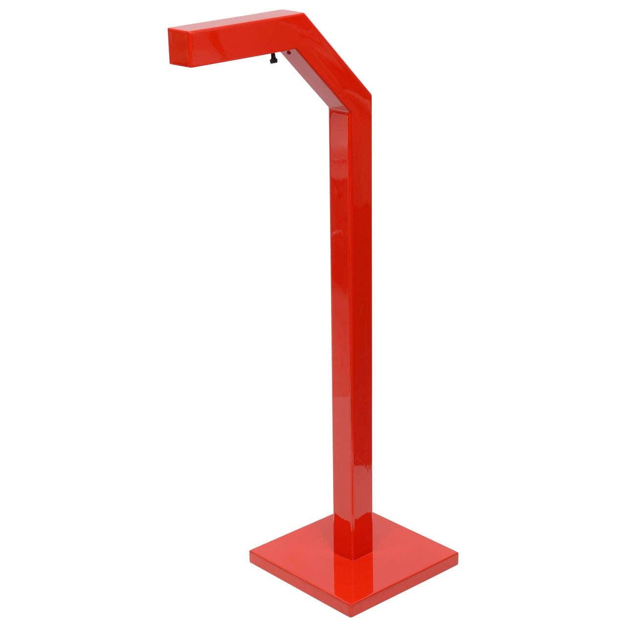 Modernist red floor lamp at 1stdibs for Red 5 light floor lamp