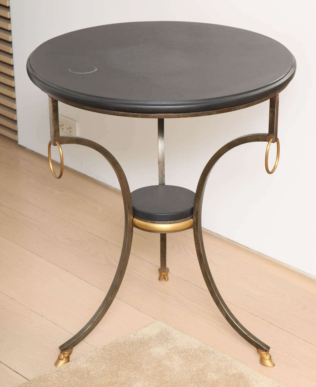 Jansen Style Neoclassical Brass and Steel Stone-Top Gueridon 2