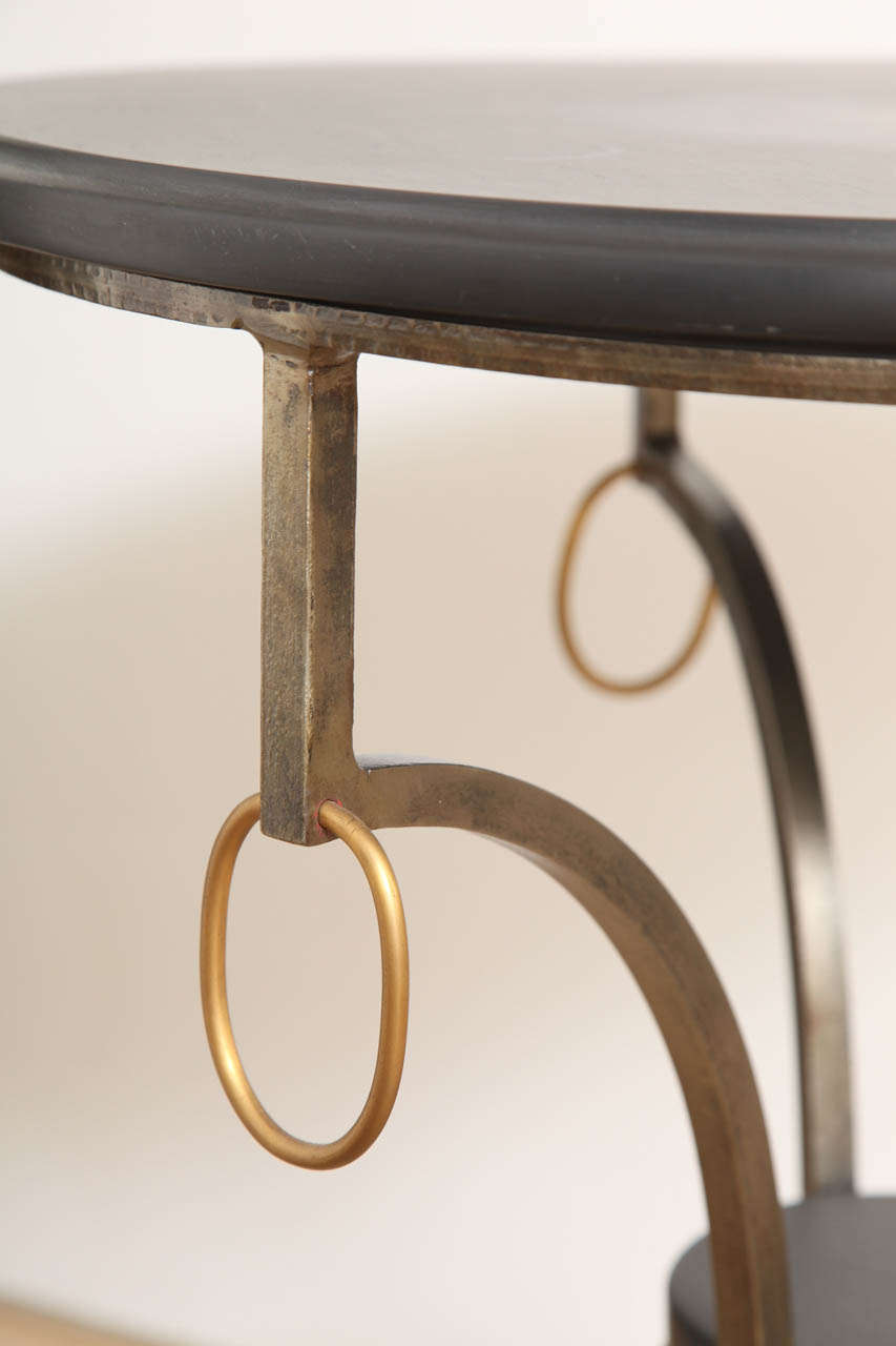 Jansen Style Neoclassical Brass and Steel Stone-Top Gueridon 4