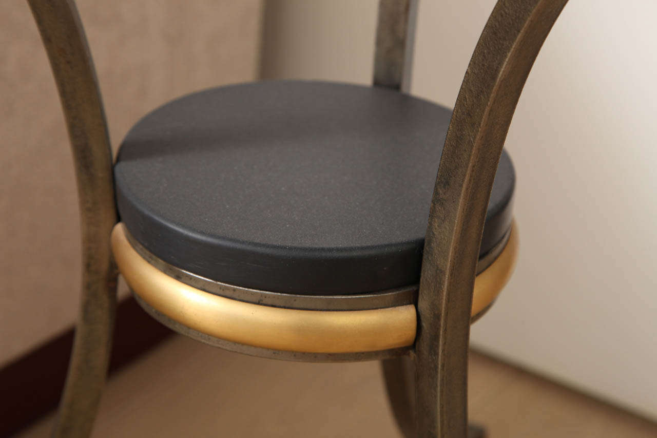 Jansen Style Neoclassical Brass and Steel Stone-Top Gueridon 7