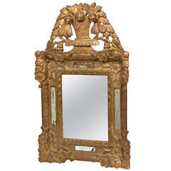 French Antique Gilt Wood Mirror with Pediment