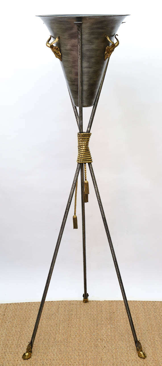 Pair of Tall Neoclassical Tripod Planters For Sale 5