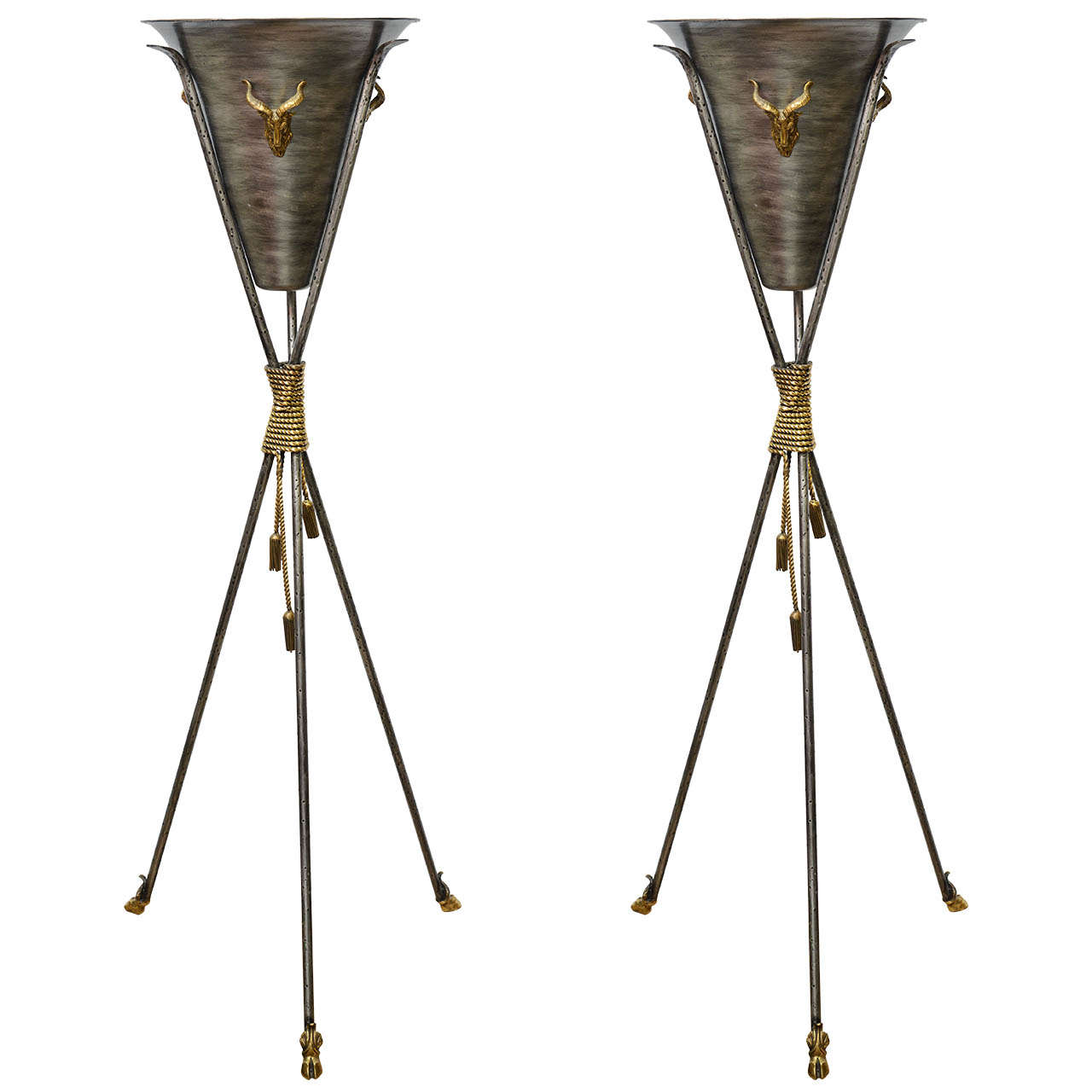 Pair of Tall Neoclassical Tripod Planters For Sale
