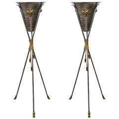 Pair of Tall Neoclassical Tripod Planters