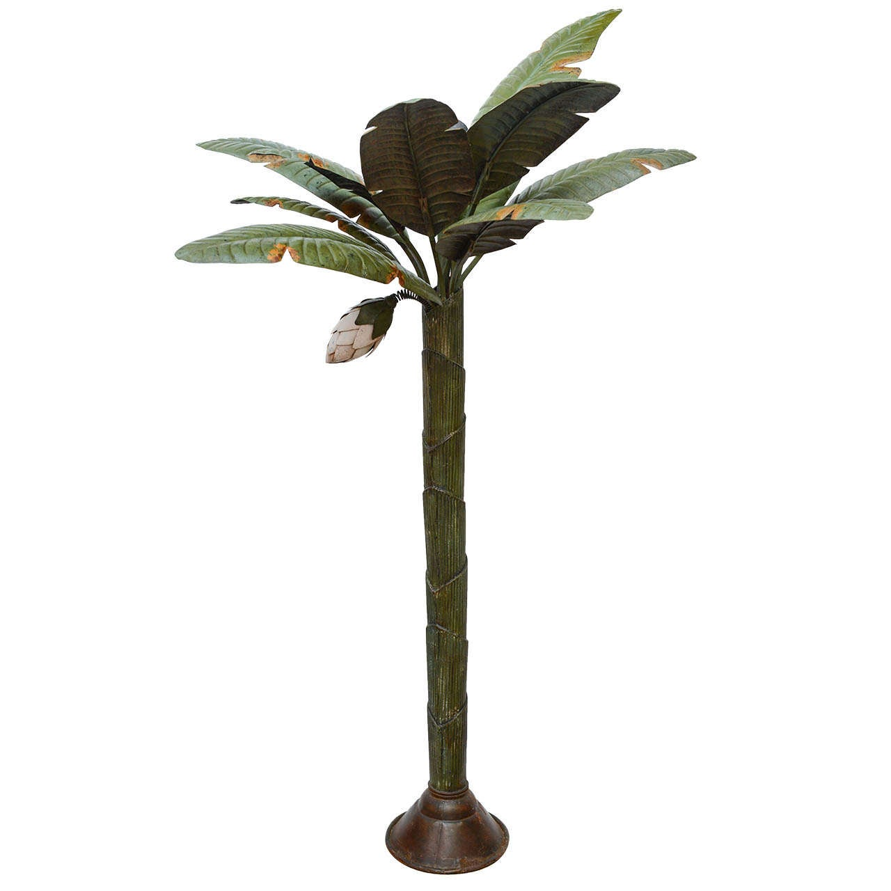 Painted Tole Freestanding Palm Tree Sculpture