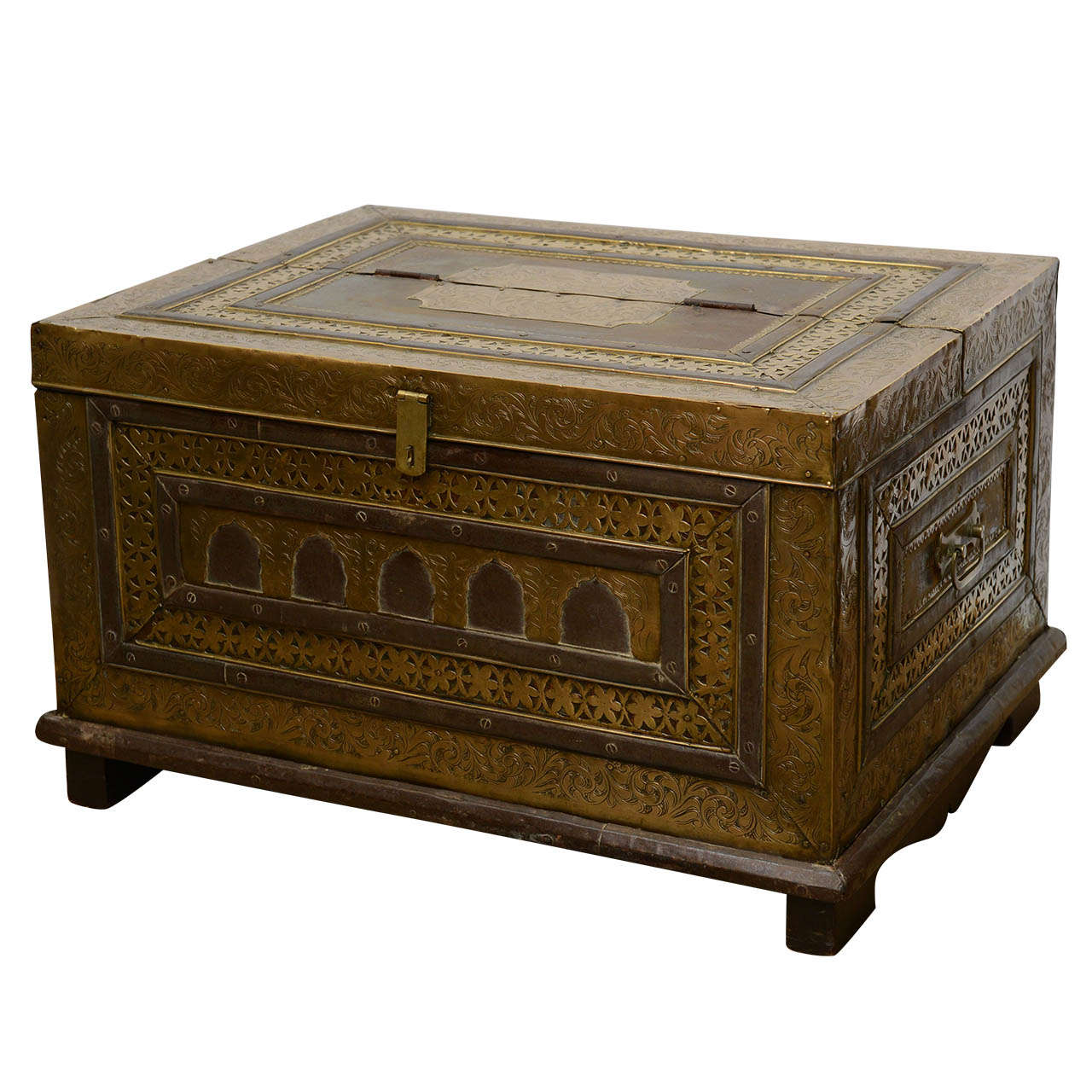 Unique Antique Moroccan 19th Century Large Brass and Wood Trunk at 1stdibs PG52