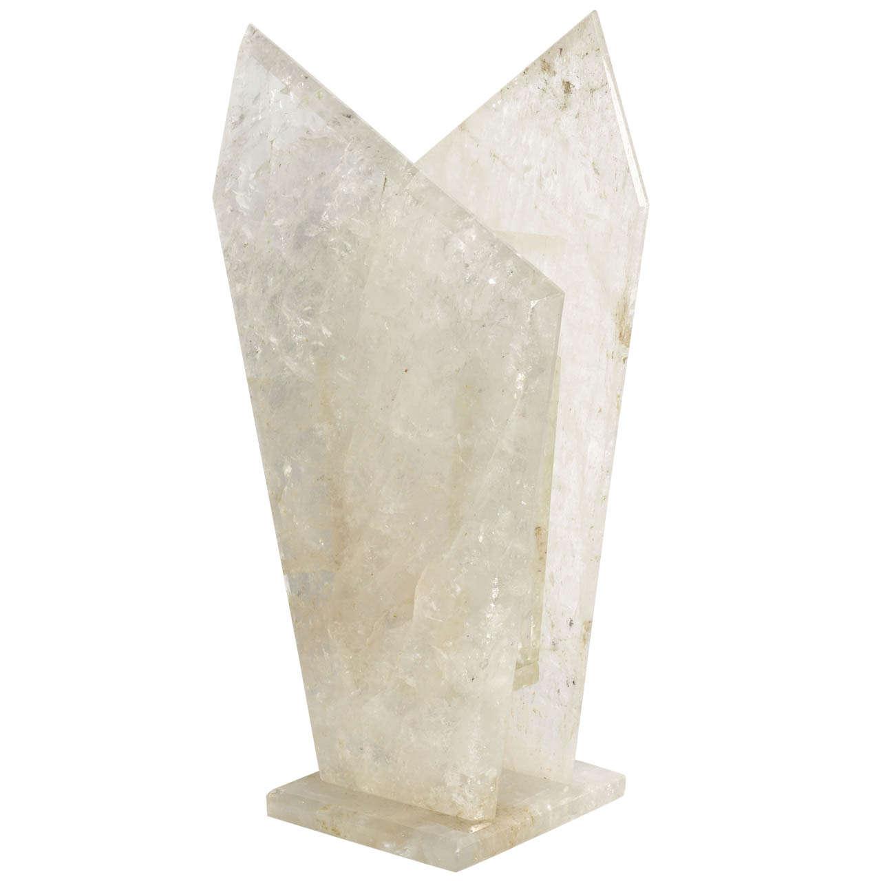 Large and Unusual Rock Crystal Vase