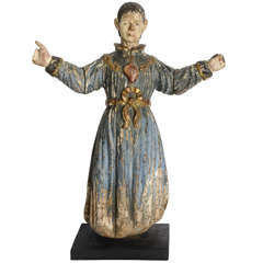 Italian Baroque Painted and Gilded Statue of St Peter, Early 18th Century