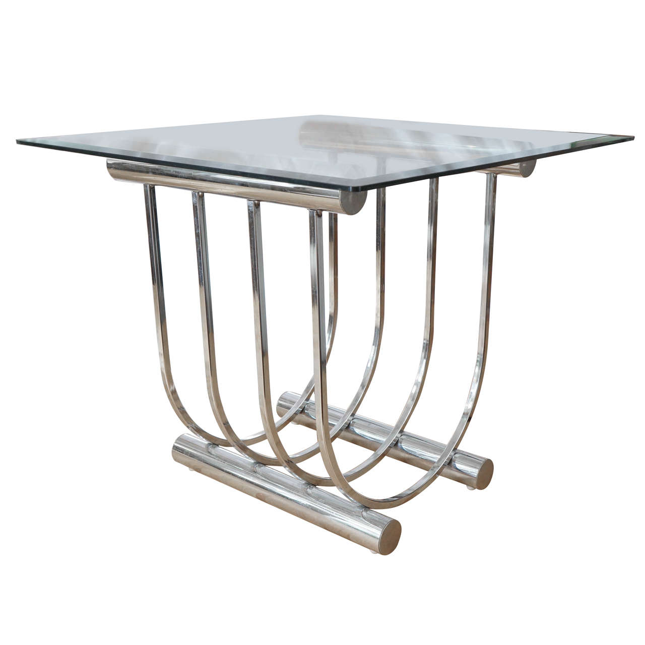 Mid Century Chrome And Glass Cocktail Table At 1stdibs