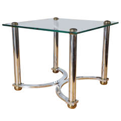 Mid-Century Chrome and Glass Side Table