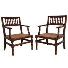 Pair of Large 19th Century Italian Walnut Armchairs with Rush Seats